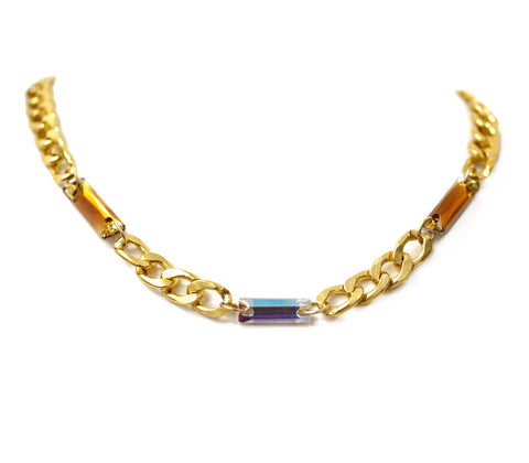 Metallic Chunky Curb Chain Collar in Smokey Topaz and Aurora Borealis