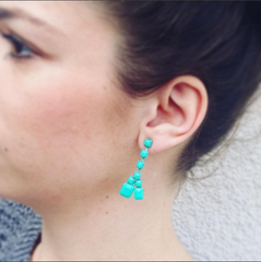 Turquoise Sorbet Summer Double Teardrop Earrings