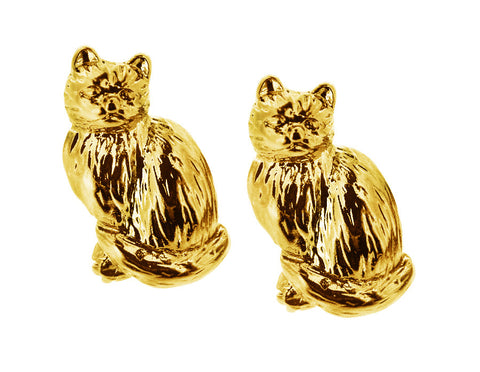 Gold Kitty Studs