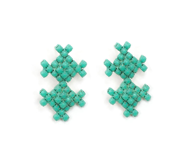 Turquoise Sorbet Summer Geo Drop Earrings