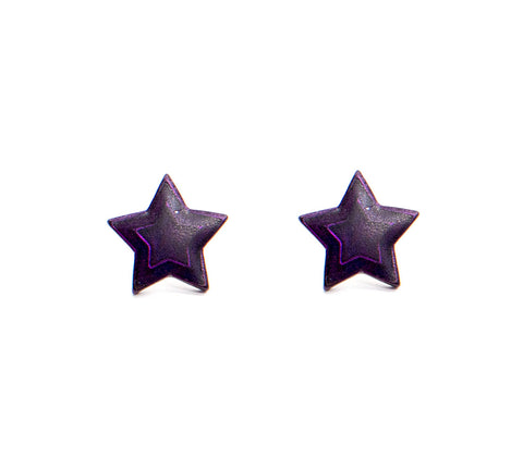 Iridescent Purple Star Studs