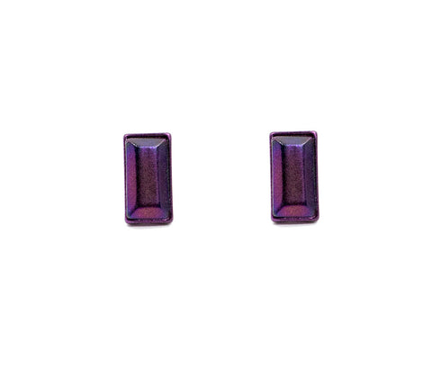 Iridescent Purple Baguette Studs