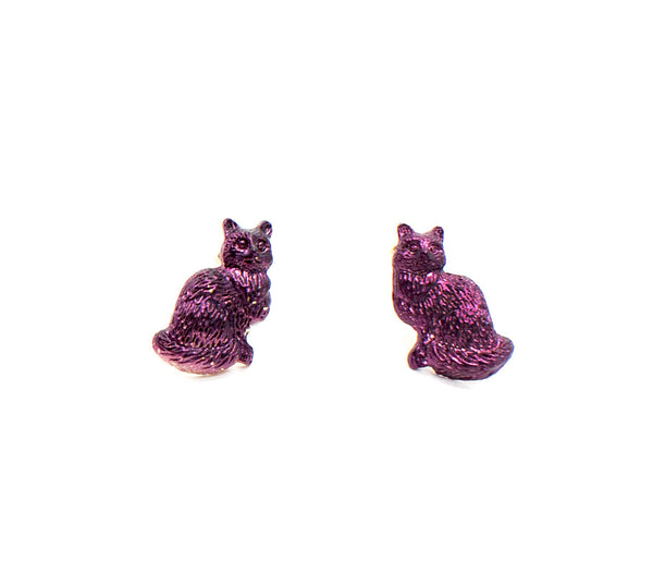Iridescent Purple Kitty Studs