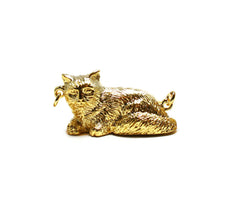 Gold House Cat Pendant
