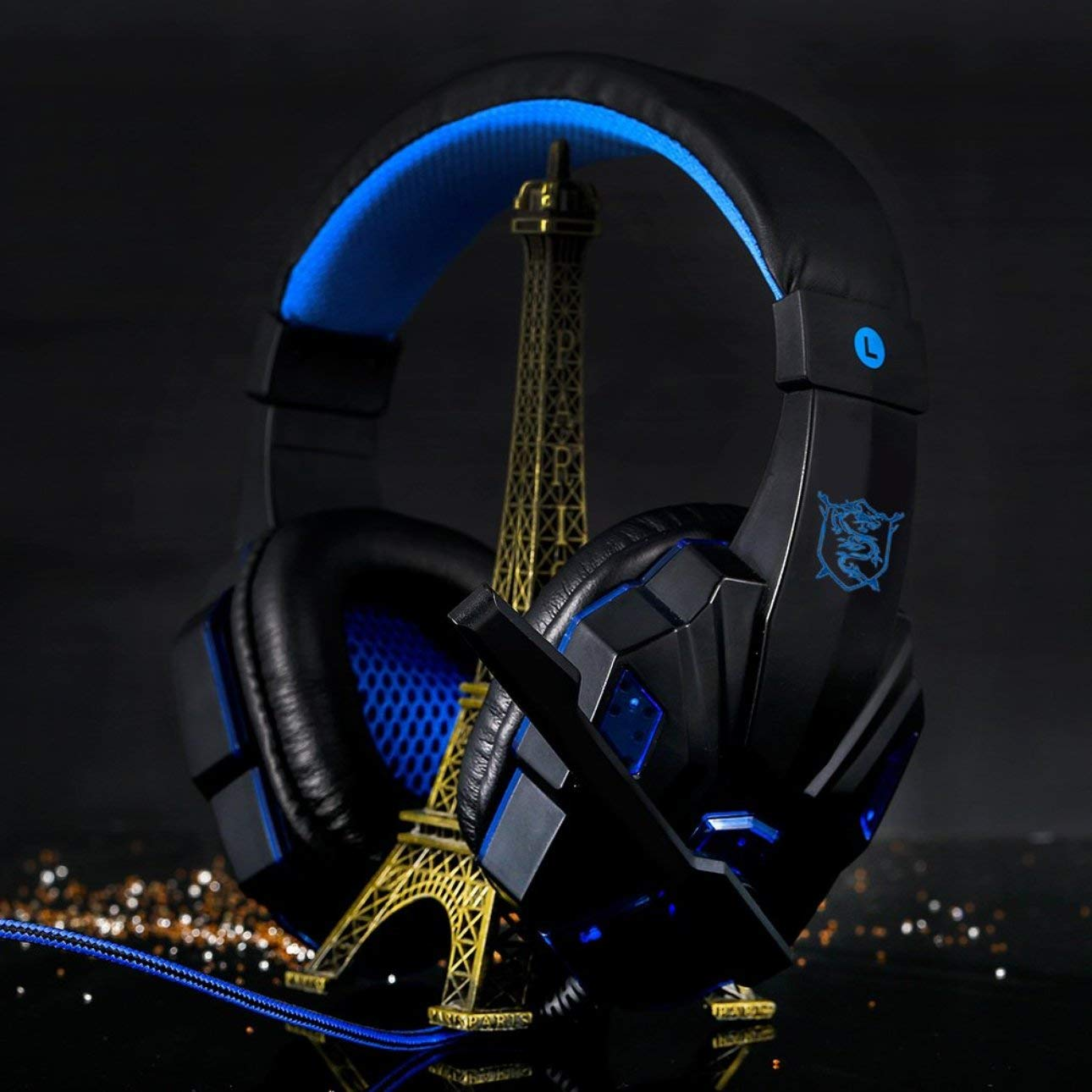 Noise Cancelling Mic Gaming Chat Headset ALWMHWOE Gaming Headset for 3D Surround Sound Dynamics,Headset Over-Ear Gaming Headphones