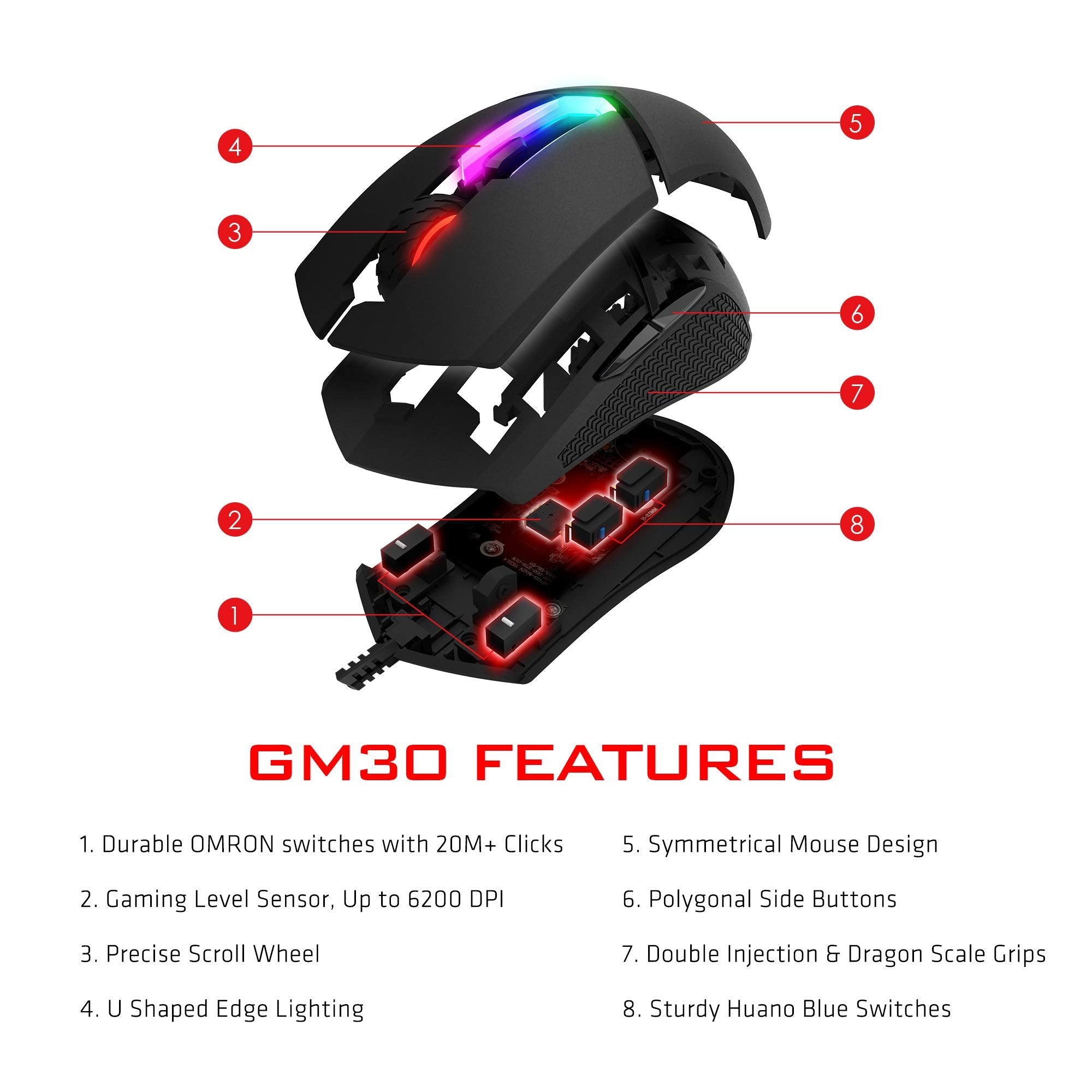 MSI Clutch GM30 6200 DPI Adjustable Omron Switch Symmetrical Design Wired RGB Gaming Mouse