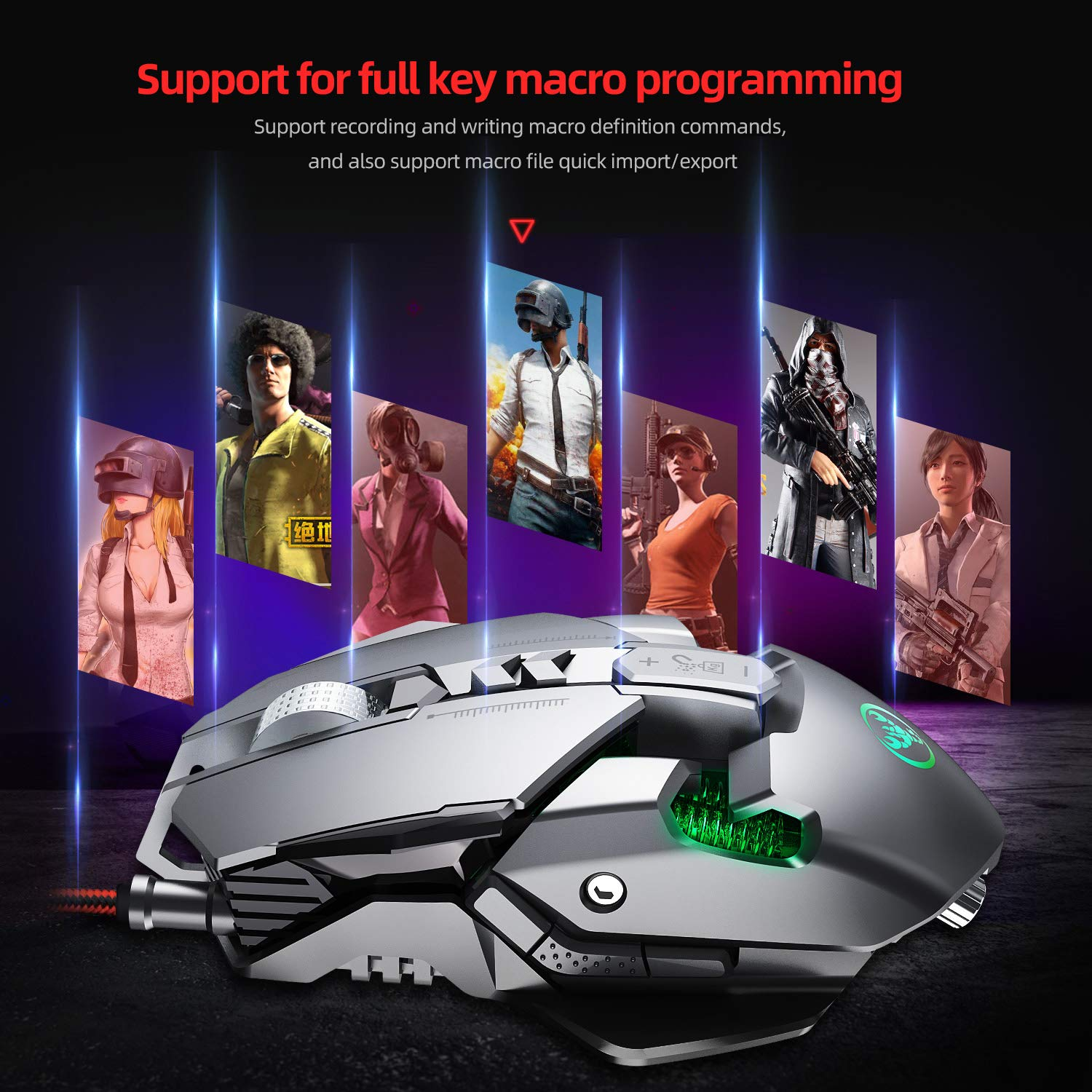 MeterMall New for ZERODATE 3200 DPI USB Wired Gaming Mouse 7 Programmable Buttons Mechanical ro Definition Programming Game Mouse Gray