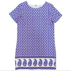 J Crew Factory Blue, Red and White Paisley Print Short Sleeve Dress Size 4