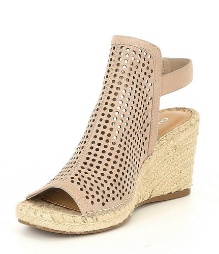 Gianni Bini Bryndell Perforated Leather  Espadrille Wedge Sandal Taupe Women's 6.5