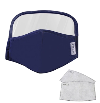 Face Mask Kids/Child NAVY With Eyes Shield and 2Pc Filters Reusable and Washable