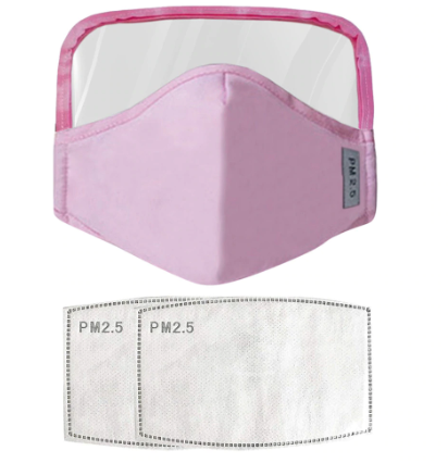 Face Mask Kids/Child PINK With Eyes Shield and 2Pc Filters Reusable and Washable