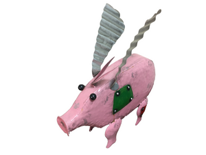 Decorative Object Metal Flying Pig EUC