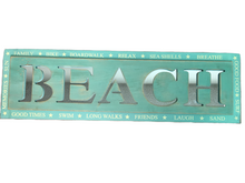 "Load image into Gallery viewer, Sign ""Beach"" Mint and Green EUC"