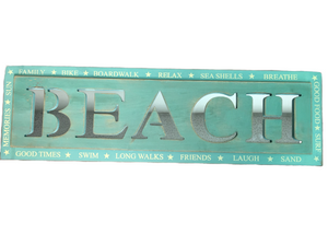 "Sign ""Beach"" Mint and Green EUC"