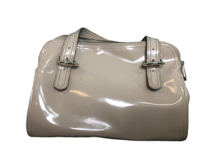 Ted Baker Taupe Patent Leather Satchel Handbag EUC