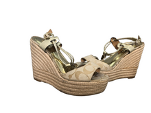 Load image into Gallery viewer, Coach Leah Wedge Heels (A6051) Platform Open Toe Signature Beige 6.5