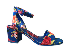 Load image into Gallery viewer, Aldo Blue Floral Ankle Strap Block Heel Size 7.5 NWOT