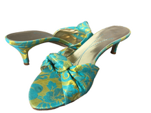 Load image into Gallery viewer, Rare Kate Spade Turquoise Brocade Kitten Heel Mule/Slides 6.5