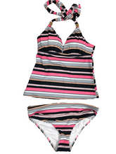 Load image into Gallery viewer, Victoria's Secret Forever Push-Up Tankini Black and Pink Stripe Swimsuit Small NWOT