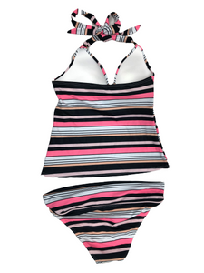 Victoria's Secret Forever Push-Up Tankini Black and Pink Stripe Swimsuit Small NWOT