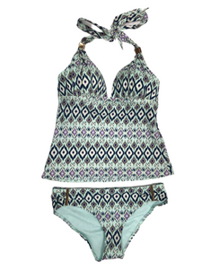Victoria's Secret Forever Push-Up Tankini Mint and Purple Ikat Swimsuit Small NWOT