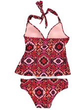 Load image into Gallery viewer, Victoria's Secret Forever Push-Up Tankini Orange and Purple Ikat Swimsuit Small NWOT