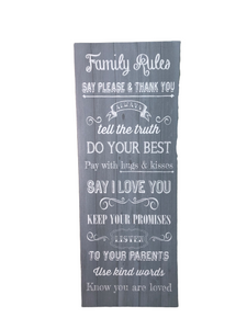 "Sign ""Family Rules"" EUC"