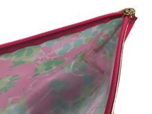 Load image into Gallery viewer, Lilly Pulitzer for Estee Lauder Pink Green Floral Print Cosmetic Makeup Bag EUC