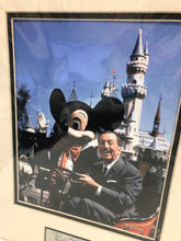 Load image into Gallery viewer, Disney Mickey & Walt Disney at Disneyland California with metal signature plate Photo Art Print NIP