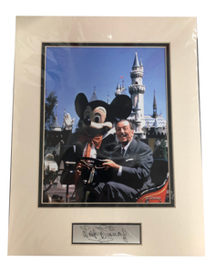 Disney Mickey & Walt Disney at Disneyland California with metal signature plate Photo Art Print NIP
