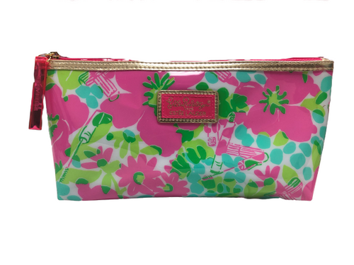 Lilly Pulitzer for Estee Lauder Pink Green Floral Print Cosmetic Makeup Bag EUC