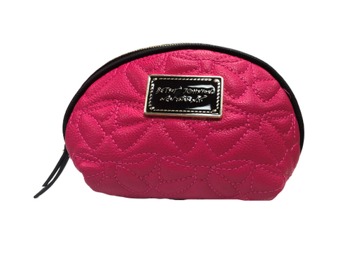 Betsey Johnson HOT PINK  Cosmetic Case / Make Up Bag EUC
