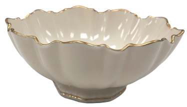 Lenox 24k Gold Trim Scalloped Round Bowl Candy Dish Made In Usa
