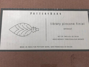 Pottery Barn Library Pinecone Finial in Aged Bronze Set of 2