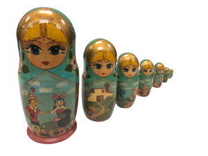 Vintage Rare 1993 Russian 6 Piece Nesting Dolls By Mockba Beautiful Hand Made