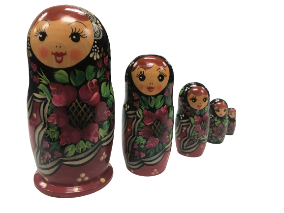 Russian Nesting Doll Set  Hand Painted/Signed 1993 5 Pieces