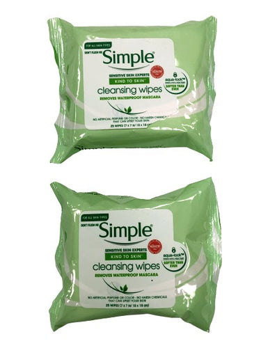 Simple Cleansing Facial Wipes Sensitive Skin Simple Softer 25 Each (Pack of 2)