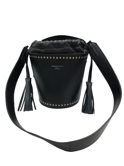 Christian Villa Milano ~Mia Bucket Handbag Purse~ Black Leather MADE IN ITALY