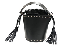 Load image into Gallery viewer, Christian Villa Milano ~Mia Bucket Handbag Purse~ Black Leather MADE IN ITALY