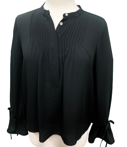 J Crew Black Pintuck Tie-Sleeve Blouse Size XS NWT