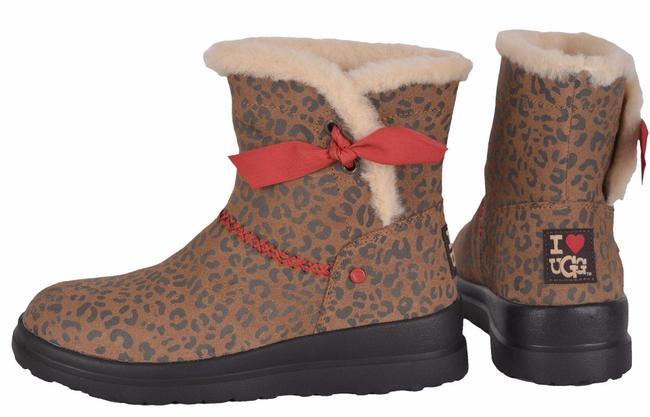UGG I Heart Knotty Leopard Print Shearling Wool Boots/Booties Size 7
