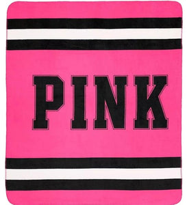 Victoria's Secret PINK Hot Pink and Black Plush Throw Blanket, NEW