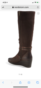 Lesley' Waterproof Brown Suede Wedge Knee High Boot Size 8