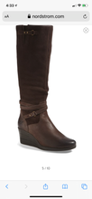 Load image into Gallery viewer, Lesley' Waterproof Brown Suede Wedge Knee High Boot Size 8