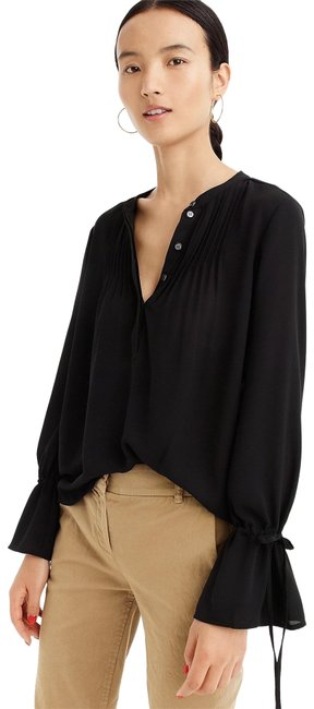J.Crew Black Pin Tuck Blouse with Tied Sleeve H7544 NWT