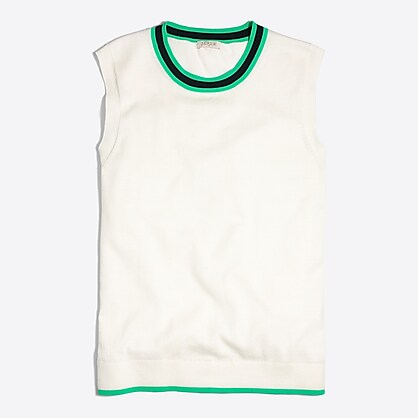 J. Crew Tipped Caryn Shell White and Green Knit Top