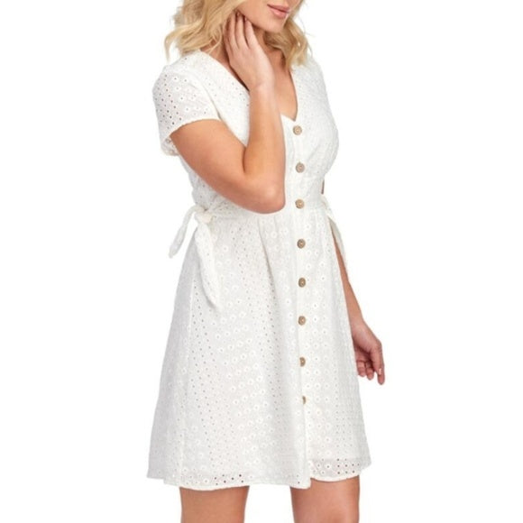 June & Hudson Eyelet Button Front Dress NWT Small