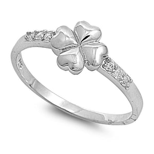 4 Leaf Clover Heart .925 Sterling Silver Ring with White CZ