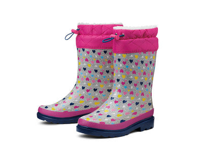 Lily & Dan Girls Insulated Hearts  Rainboots  Size 2/3 NWT