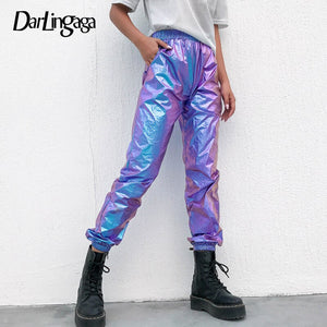 Darlingaga Hip Hop holographic high waist pants women joggers streetwear dance track pants trousers elastic summer 2020 bottom